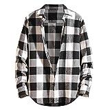 Luckycat Camisa térmica Acolchada para Trabajo Camisa Franela de Cuadros Manga Larga para Hombre Camisa Informal de popelín de Manga Larga de Corte Entallado para Hombre