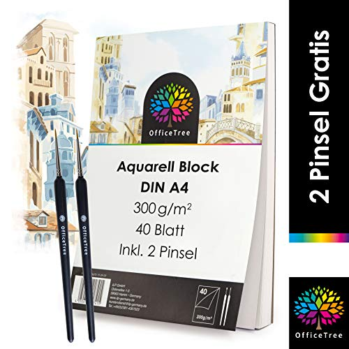 OfficeTree Aquarellblock A4 300g 40 Blatt - Aquarellpapier A4 Weiß – Zeichenblock A4 für Wasserfarben - Papier für Aquarellmalerei - 2 Pinsel gratis