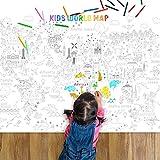 Poster Géant à Colorier Carte du Monde à Colorier Jumbo pour Enfant Grand Livre de Coloriage Affiche de Coloriage de Carte du Monde Affiche d'Éducation de Coloriage d'Art, 45,3 x 31,5 Pouces