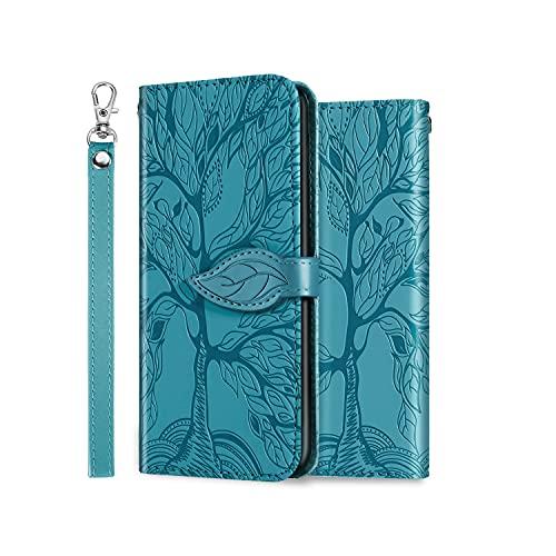 ONETHEFUL Handyhülle Tasche Book Cover für Samsung Galaxy S21 / S30 Hülle Kunstleder Klappbar Flip Phone Hülle Brieftasche Huelle Etui mit Ständer Blau