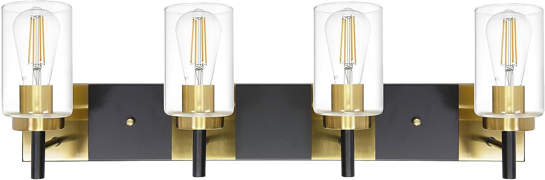 VINLUZ Virginia Beach Mall 4 Light Vanity Lighting Genuine Free Shipping for Bathrooms Br Modern and Black