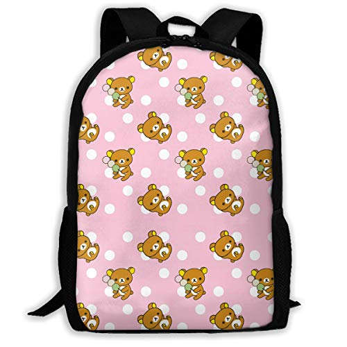 Rilakkuma Cute Pattern Backpack - Student Backpack - Stylish Bookbag or Lunch Backpack for Children, Teens, or Adults - Unisex Campus Backpack with Padded Shoulder Straps