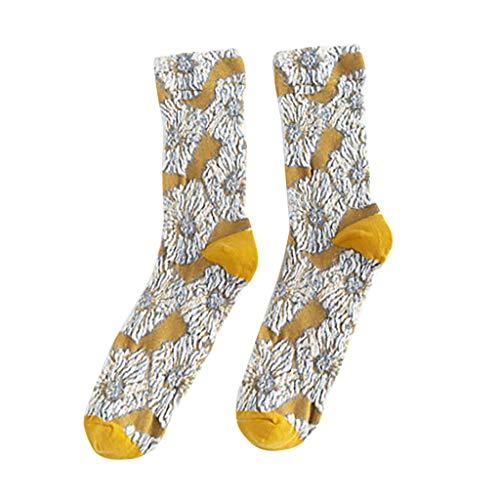 NUSGEAR Socken Frauen kreative Retro Plissee Pile Socken Patchwork Farbe lässig Baumwollsocken,Damen Trend kreative Falten kleine Blumenmuster Retro Sen Farbabstimmung Haufen Socken gelb