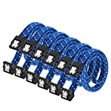 SATA III Cable,DanYee Nylon Braided SATA Cable III 6Gbps Straight HDD SDD Data Cable with Locking Latch 18 Inch Compatible for SATA HDD, SSD, CD Driver, CD Writer (6 Packs Blue)