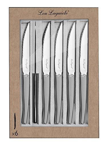 LOU LAGUIOLE Coffret de 6 couteaux à steak Jet Sable