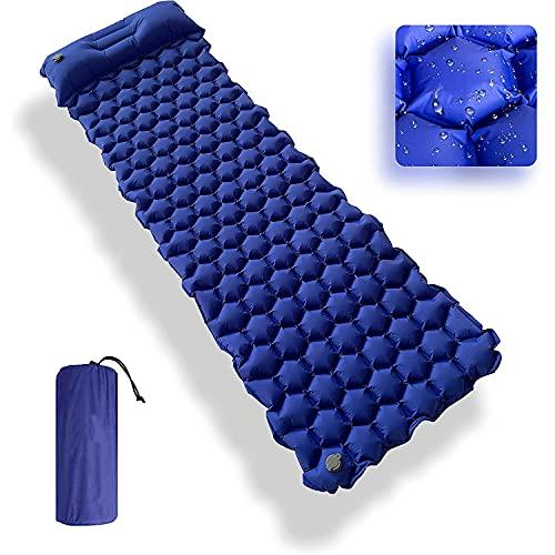 GREEN HAVEN Colchoneta de camping ultraligera con almohada de camping incorporada, colchoneta de dormir inflable impermeable para acampar, colchoneta de dormir para senderismo, camping y más (azul)
