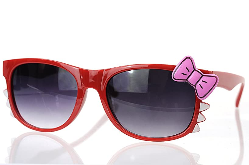 Cute Kitty Wayfarer Sunglasses with Bow and Whiskers (Red/Pink Bow)