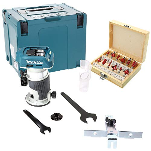 Makita DRT50ZJ 18V Brushless Router/Trimmer with WC-RB12 12 Piece 1/4