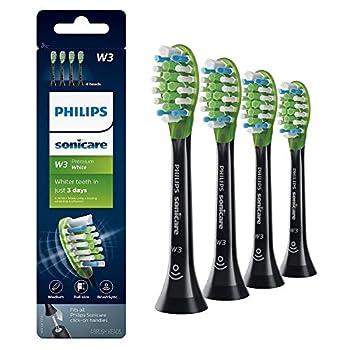 Philips Sonicare Premium White replacement toothbrush heads HX9064/95 BrushSync technology Black 4-pk