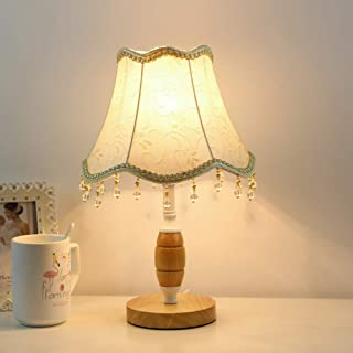 STGLIGHTING Crystal Decorates Table Lamp with Linen Fabric LampShade UL Button Switch Cord Vintage Style Slip UNO Fitter E26 Wooden Base Antique Table Light Bulbs Not Included