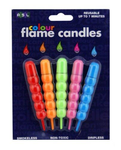 lettuceat Lot de 5 bougies anniversaire flamme de couleur anti-goutte non toxique