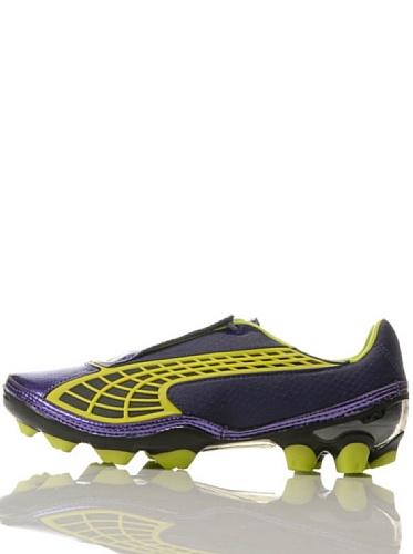 Puma - V1.10 FG - Botas de fútbol con tacos para terreno firme - Morado/verde brillante/negro - Eur 40.5