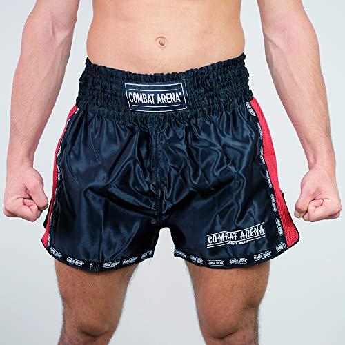 Combat Arena Classic Pantaloncini da Kick Boxing e Muay Thai in Raso (S, Nero)