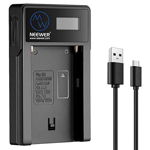 Neewer - Cargador Micro USB para baterías Sony NP-F550/F750/F960/F970, NP-FM50/FM70/FM90, QM71D, 91D, NP-F500H/F55H