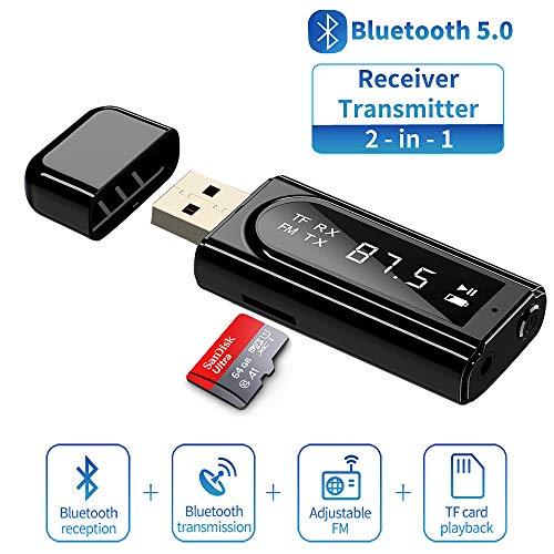 Trasmettitore Bluetooth 5.0,DUTISON 2 in 1 trasmettitore ricevitore bluetooth per auto/TV/PC/Cuffie senza Bluetooth Funzione,per ricevitore bluetooth