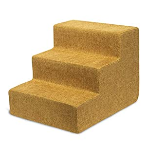 Best Pet Supplies USA Made Pet Steps/Stairs with CertiPUR-US Certified Foam for Dogs & Cats Mustard, 3-Step (H: 13.5″)