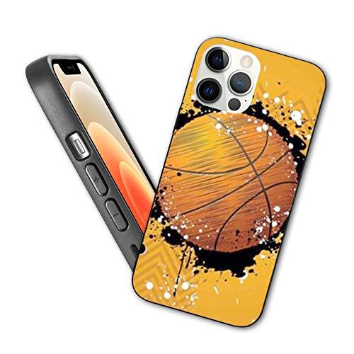 Compatible con iPhone 12 Pro Max Case Ilustración de baloncesto en Abstract Grungy Background Protective Shockproof con Soft TPU Bumper y Hard PC Back (6,7 pulgadas)