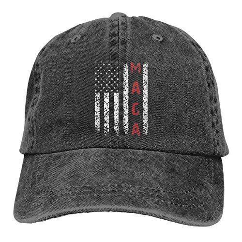 MAGA,Gorra de béisbol ajustable de mezclilla vintage unisex para adultos, negro