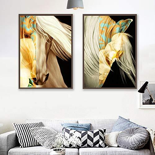 Rahmenlose Malerei Feierliche abstrakte Kunst Tier Pferd geometrischen Raum Leinwand Malerei Wandkünstler Home DecorationZGQ2605 40X60cm