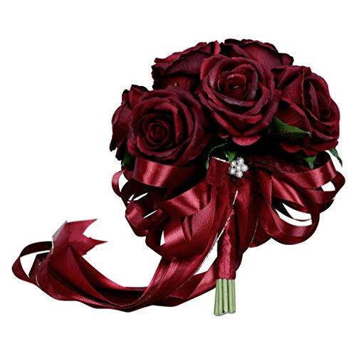 B Blesiya Ramo de rosas artificiales de seda con cristal, romántico, para boda, color rojo vino