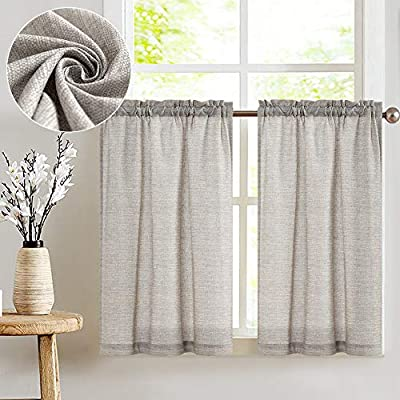 jinchan Tier Curtains Linen Textured 36 Inches Long Curtains for Kitchen Small Cafe Curtains for Window Treatment Set 2 Panels Grey