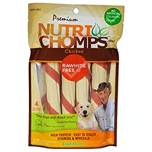 NutriChomps Dog Chews, 6-inch Twists, Easy to Digest, Rawhide-Free Dog Treats, 4 Count, Real Chicken flavor
