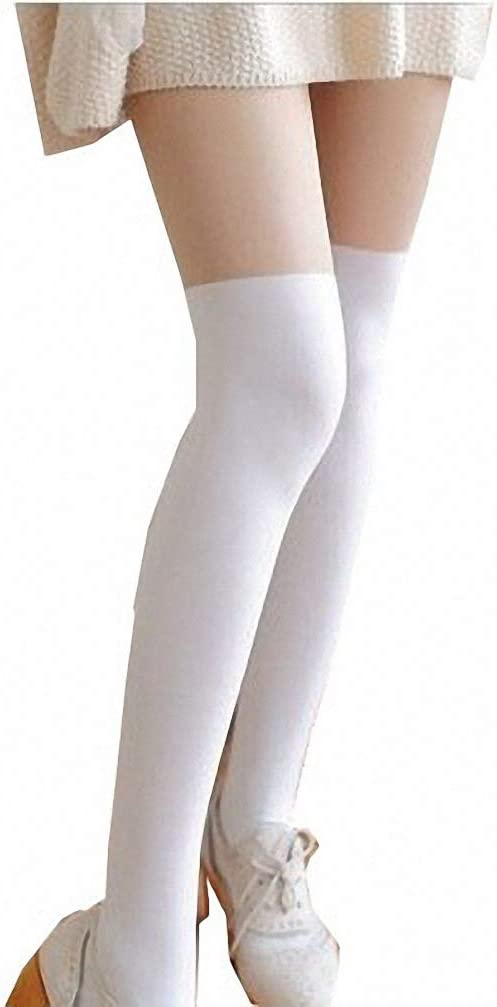Cat Stockings Pantyhose Cartoon Bunny Socks Mock Knee Nude High Thigh Tights, White, One Size