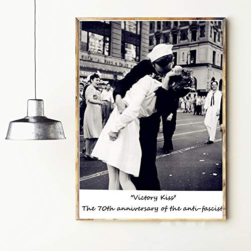 jzxjzx Victory Kiss Vintage Retro Poster e Stampe Decorazioni per la casa Grande Tela di Cotone Stampa su Tela Immagine Moderna per pareti