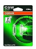 OSRAM ULTRA LIFE C5W, Lámpara halógena, iluminación interior, 6418ULT-02B, automóvil de 12V, ampolla doble (2unidades)