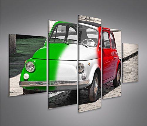 Tableau moderne, impression sur toile d'une Fiat 500, tableau pour séjour, salon, cuisine, bureau, maison, photographie au format XXL