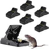 WAGLICK Trampa para Ratones, 6 Pcs Grande ratonera de plástico para Interiores y Exteriores, Trampa para Ratas efectiva, fácil de Instalar, Golpe poderoso,Reutilizable, trampas para Matar