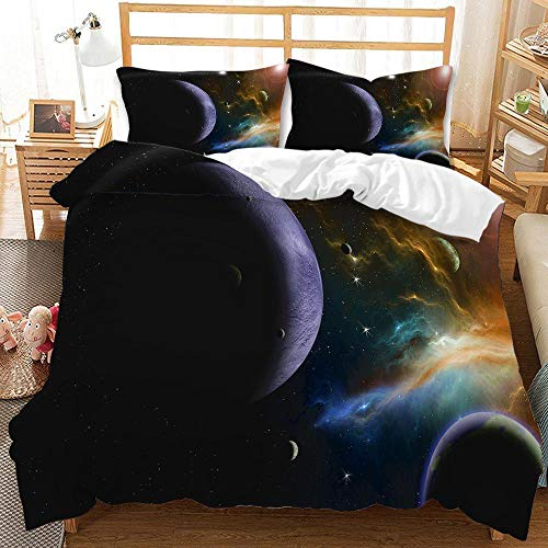 Cttfbys mtsubllk Planet space bedding set, 3D printed Mars astronaut duvet cover and pillowcase, suitable for themed bedroom and apartment-G_220*240cm(3pcs)