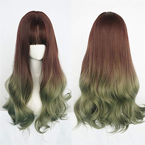 Perruque Femme longs cheveux bouclés Air Bangs visage rond grande vague Cheveux longs Fluffy réaliste Top Natural Wave Rouleau cheveux bouclés (Color : Chocolate gradient)