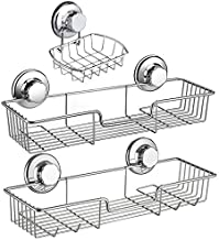 iPEGTOP 3in1 Suction Cup Shower Caddy Bath Wall Shelf + Soap Dish Holder for Large Shampoo Shower Gel Holder Bathroom Storage - Rustproof Stainless Steel