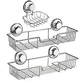 iPEGTOP 3in1 Suction Cup Shower Caddy Bath Wall Shelf + Soap Dish Holder for Large Shampoo Shower Gel Holder Bathroom...