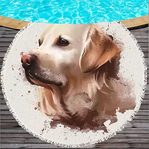 Toalla De Playa Redonda De Microfibra con Patrón De Impresión Digital De Cachorro, Tapete De Playa De Secado Rápido A Prueba De Arena, Toalla De Baño Absorbente 150 * 150cm
