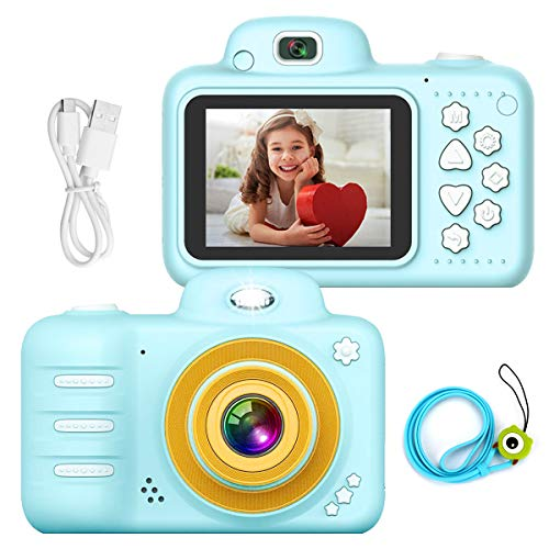 Welltop Kinder Digital Mini Kamera, Selfie Photo Kid Camera Kinderkamera Stoßfester wiederaufladbarer Camcorder Vorder- / Rückseite Kleinkind-Videorecorder mit Blitzlampe für 4-12 Jahre altes Kinder