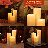 SIMPLUX Rustic Moving Flame Led Candle with Timer,3x5.25 Inches,Ivory,Melted Top