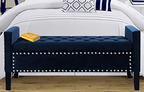 Iconic Home Marcus Neo Traditional Velvet Tufted Storage Bench, Navy