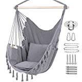 Y- STOP Hammock Chair Hanging Rope Swing, Max 330 Lbs, 2 Cushions Included-Large Macrame Hanging Chair with Pocket for Superior Comfort,Durability (Light Grey)