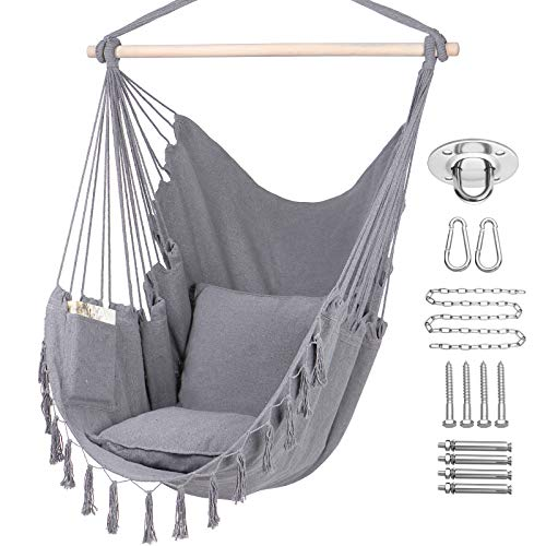 Y- STOP Hammock Chair Hanging Rope Swing-Max 330 Lbs-2 Cushions Included-Large Macrame Hanging Chair with Pocket- Quality Cotton Weave for Superior Comfort,Durability (Light Grey)