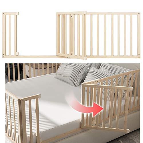 QIANDA Barrera Cama, Columpio Abajo Extra Largo De Madera Cama Guardia Dormir Protección del Bebé, Fácil De Montar (Color : A, Size : 180CM)