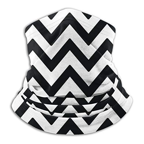 Towel&bag Zigzag - Bufanda unisex multifuncional de microfibra a prueba de polvo, diseño de rayas, color blanco y negro