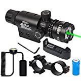 Tactical Adjustable Green Scope Sight Dot 532nm with Rail Mount, Scope Mount Laser Scope with Rechargeable Battery, Charger Pressure Switch for Hunting, Shooting, Outdoor Activities
