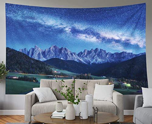 Father Gift Tapestry, Home Wall Hanging Tapices Tapices para D & eacute; cor Sala de estar Dormitorio Maddalena y Vía Láctea en la noche en otoño Italia Cielo estrellado con Vía Láctea sobre Santa Mag