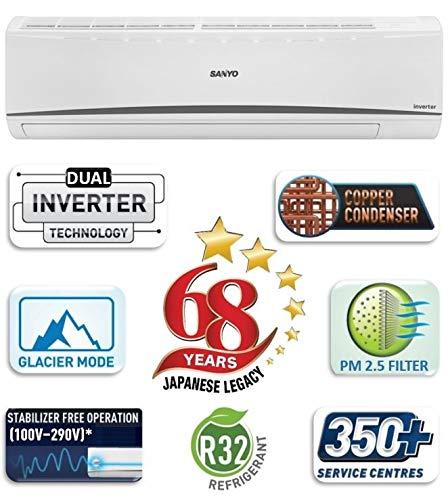Sanyo 1.5 Ton 5 Star Dual Inverter Wide Split AC (Copper, 2020 Model, SI/SO-15T5SCIC White)
