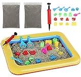 ISO TRADE Kinetischer Sand 2 kg mit Aufblasbarer Mini Sandkasten und Förmchen 9095
