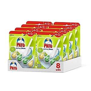 Pato Active Clean - Colgador wc, frescor intenso, perfuma limpia y desinfecta el inodoro, aroma Lima. (Pack 8 unidades)