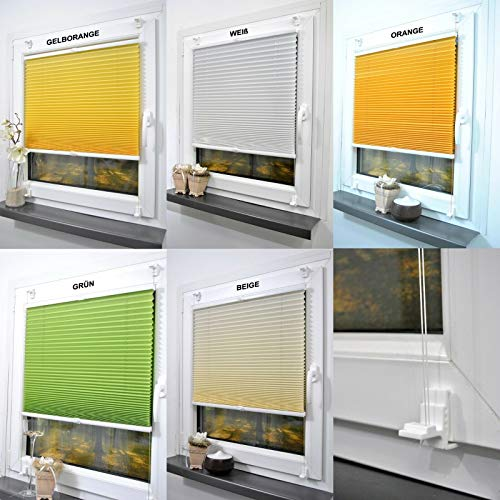 Plissee Klemmfix ohne Bohren Fensterrollo Rollos Faltrollo Pliseerollos Jalousie (Gelb/Orange, 75x220cm)