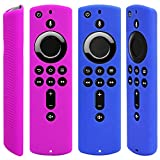 Pinowu Custodia protettiva in silicone compatibile con Fire TV Stick 4K Remote (2pcs: blu e viola)